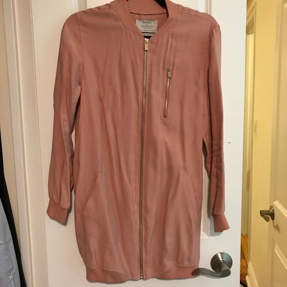 101539195f Bershka Jackets   Blazers - Long Sleeve Pink and Silver Bomber Jacket